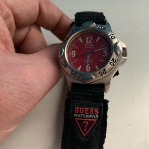 Guess Waterpro Red Face Black Velcro Band Watch